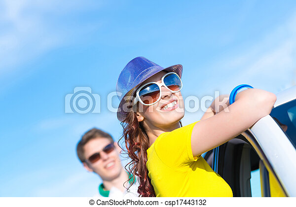 young attractive woman in sunglasses - csp17443132