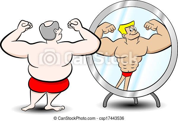 Vecteurs de muscle graisse homme vecteur illustration for Se voir dans un miroir