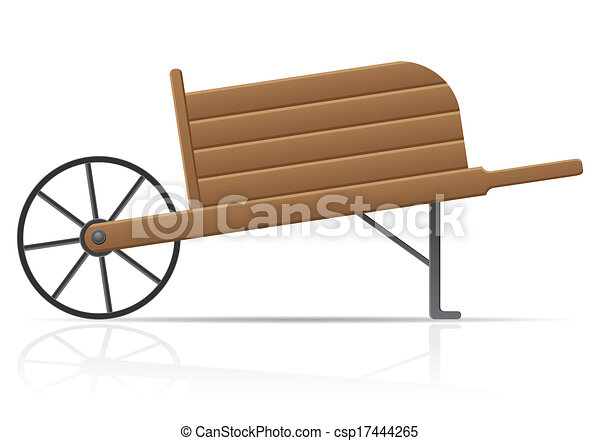 Clip Art Vector of wooden old retro garden wheelbarrow ...