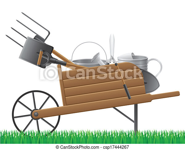 Wooden Old Retro Garden Wheelbarrow With... - Royalty Free ...