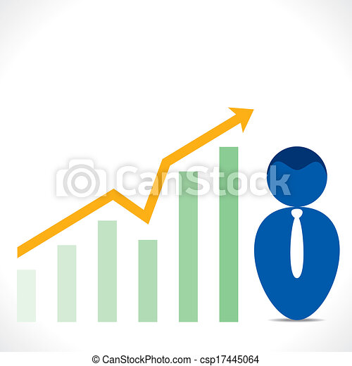 men icon with business graph chart - csp17445064
