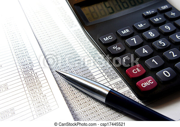 Office table with calculator, pen and accounting document   - csp17445521