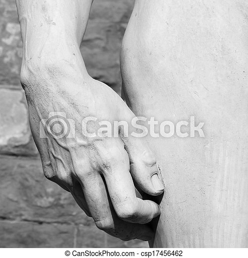 hand and hip detail of  David sculptured by Michelangelo  - csp17456462