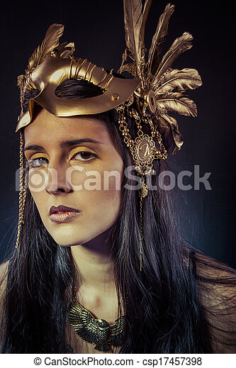 Stock Photographs of Viking, Warrior woman with gold mask, long ...