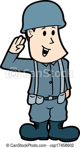 Vector Clip Art De Caricatura Soldado Csp17458602