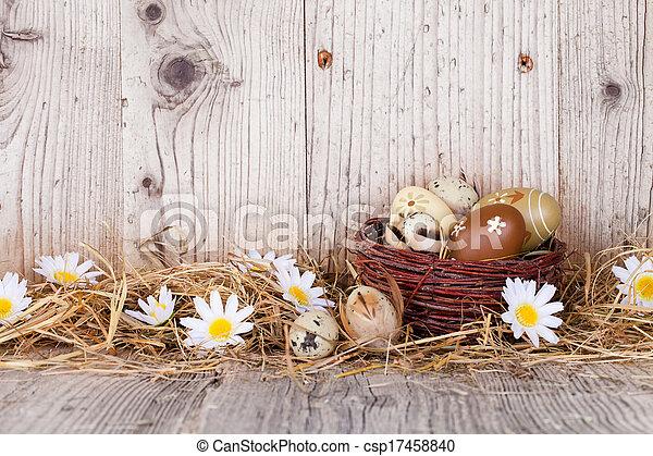 Eier, Holz, Ostern - csp17458840
