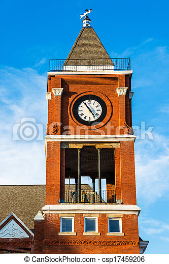 Clock tower of historic court house - csp17459206