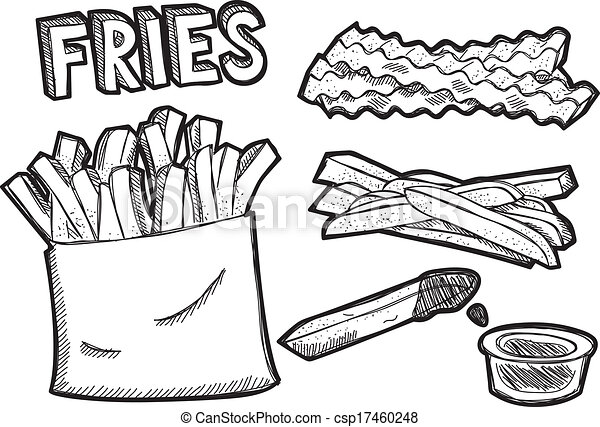 eps vector of french fries csp17460248 search clip art french fry clipart transparent Clip Art Black and White French Fry