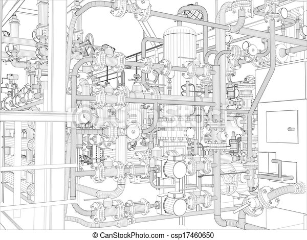 Industrial equipment. Wire-frame render - csp17460650