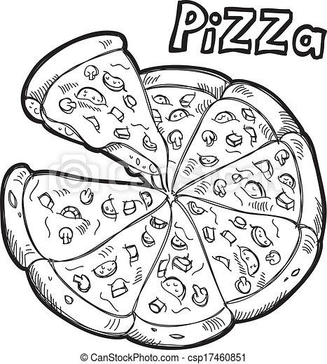 Clipart Vector of pizza doodle csp17460851 - Search Clip Art ...