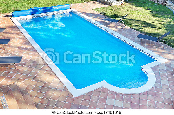 Summer pool for the holidays with a garden. For recreation and swimming. - csp17461619