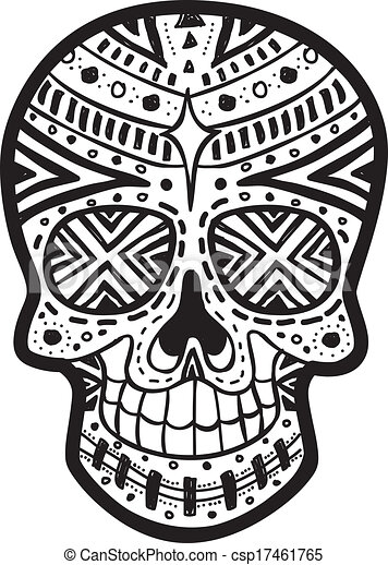 Sugar Skull Black And White Drawing Clip Art Vector Of