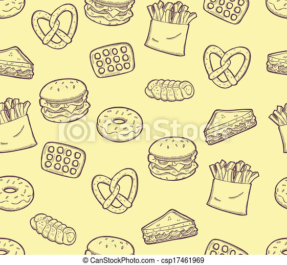 Clip Art Vector of snack food background csp17461969 - Search ...
