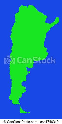 mapa,  Argentina, contorno - csp1746319