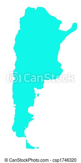 mapa,  Argentina, contorno - csp1746320