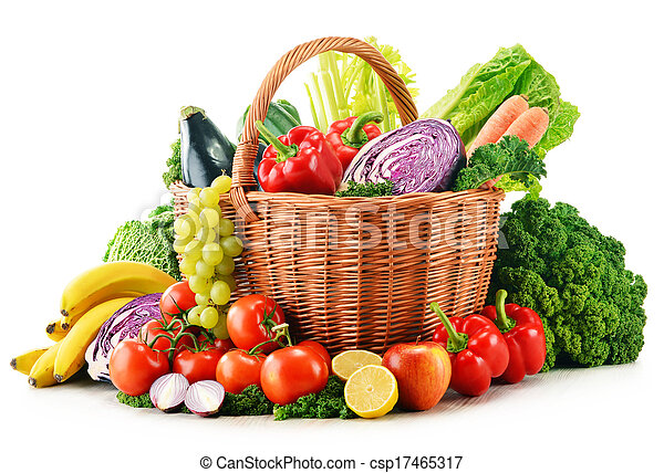 Wicker basket with assorted organic vegetables and fruits  isolated on white - csp17465317