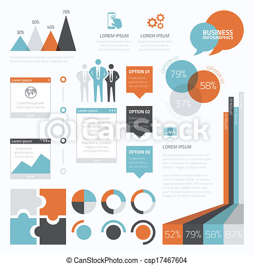 Retro business set of infographic e - csp17467604