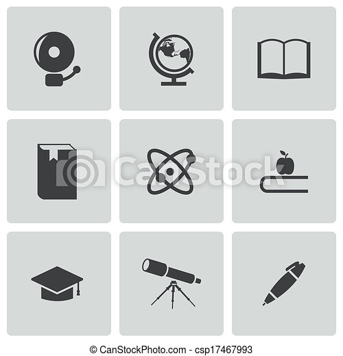 Vector black education icons set - csp17467993