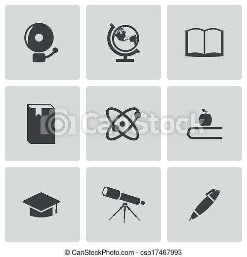 Vector black education icons set - csp17467993
