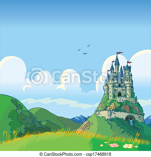 fantasy background with castle - csp17468918