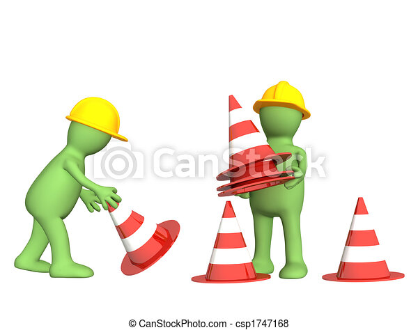 3d puppets with emergency cones - csp1747168