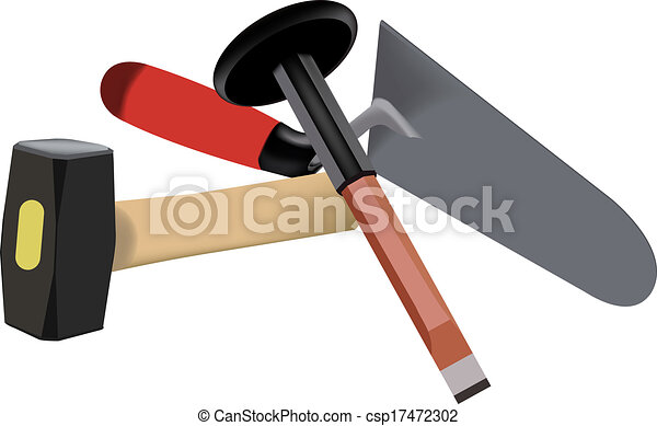 Vector Clipart of tools for building - chisel hammer trowel tool ...