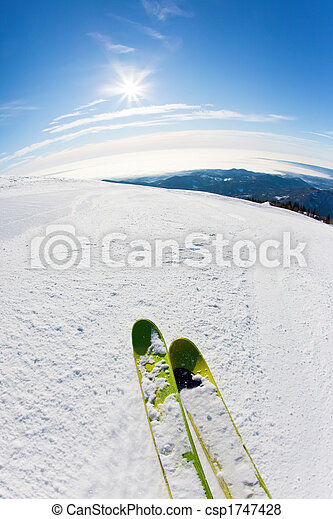 Skiing on a ski slope - csp1747428
