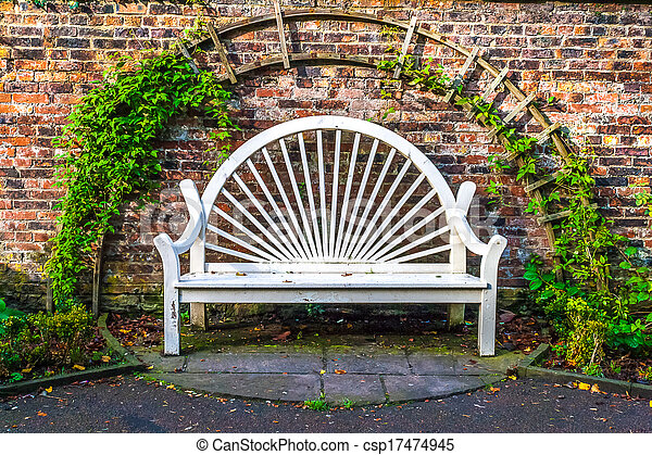 White Wood Town Park Bench - csp17474945