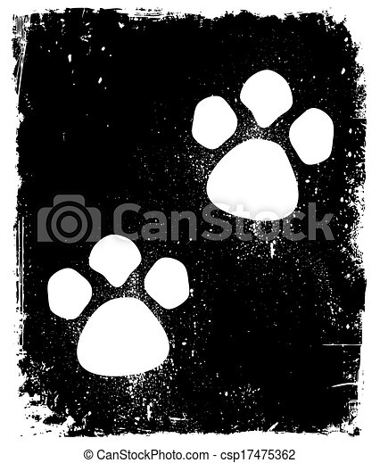 Traces Of The Animal On Pavement. Vector - csp17475362