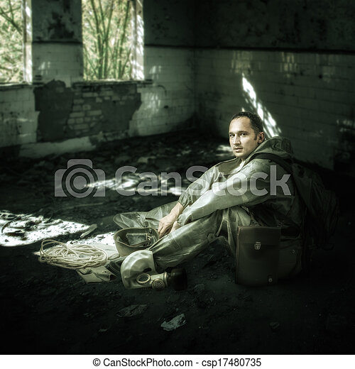 Military man in ruins of buildings - csp17480735