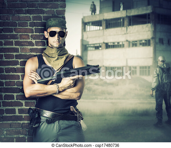 Military man with gun - automatic - csp17480736