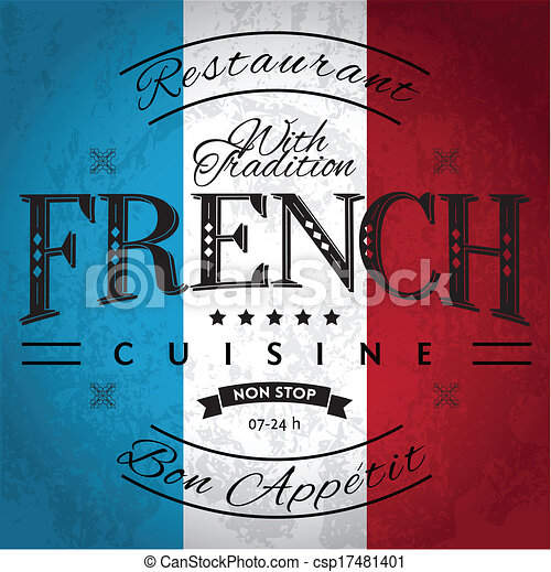 Vector Clipart of French Cuisine Label on Grunge Flag ...