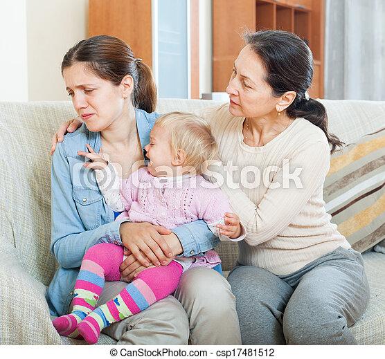 Mature woman comforting adult daughter with toddler   - csp17481512