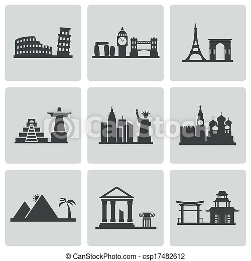 Vector black landmarks icons set - csp17482612