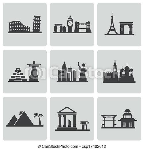 Vector black landmarks icons set - csp17482612