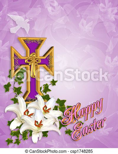 Easter Cross and Lilies - csp1748285