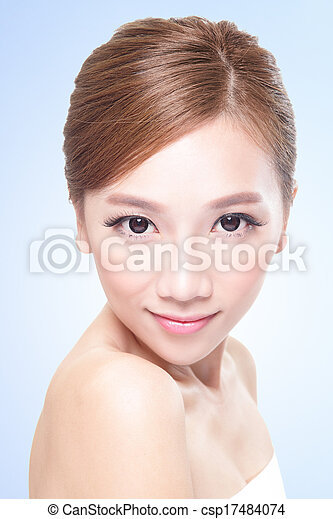 Beautiful face of young adult woman - csp17484074