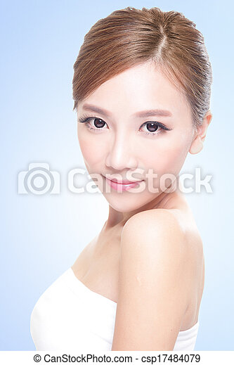 Beautiful face of young adult woman - csp17484079
