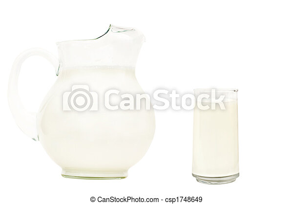 Glass pitcher of milk - csp1748649