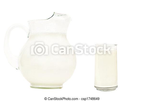 Glass pitcher of milk - csp1748649