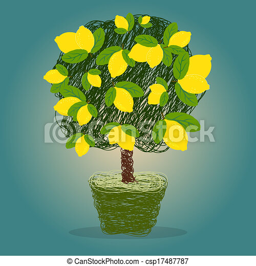 Lemon Tree Artwork Lemon Tree in a Pot