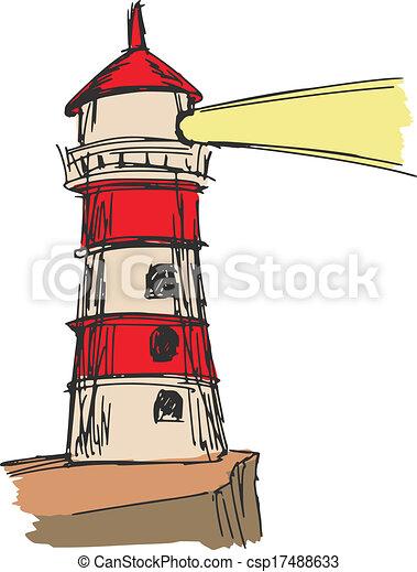 Vecteurs de phare main dessin croquis dessin anim - Dessin de phare ...