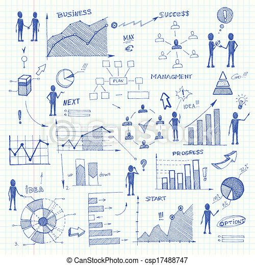 Doodle business charts infographics elements - csp17488747