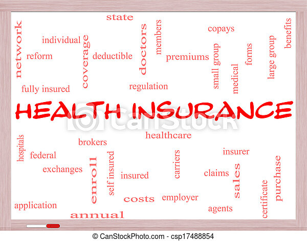 Health Insurance Word Cloud Concept on a Whiteboard - csp17488854
