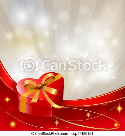 boîte, vecteur, cadeau, petite amie, arc, fond, rubans, jour, rouges - csp17489151