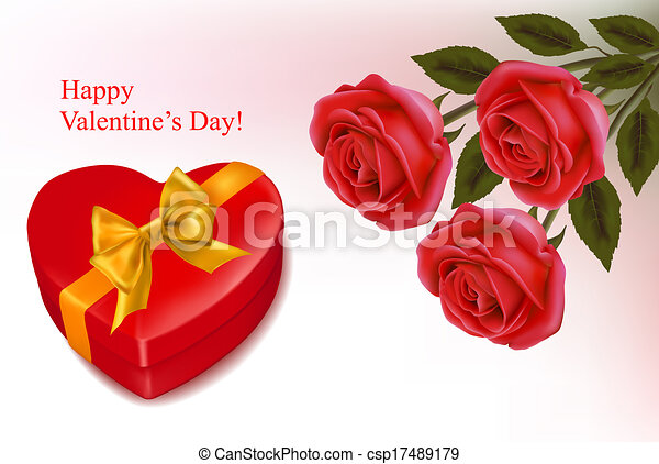 Valentine`s day background. Red roses and gift red box. Vector illustration. - csp17489179