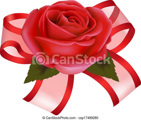 Illustration, cadeau,  rose, petite amie, fond, vecteur, arc, jour, rouges - csp17489280