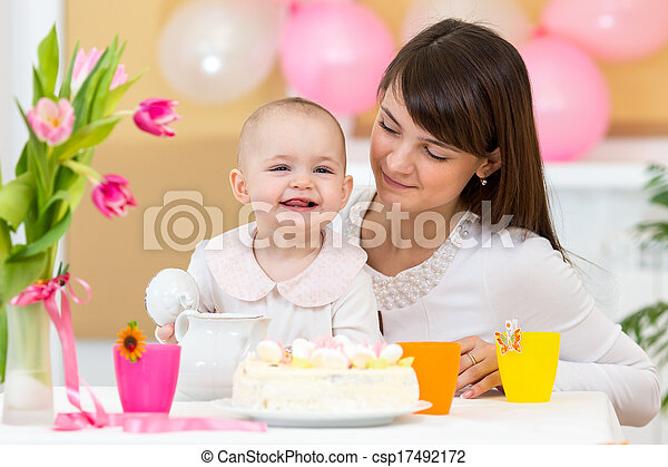 baby and mother celebrate  first birthday - csp17492172