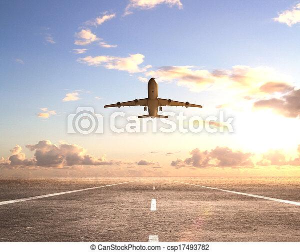 airplane on runway - csp17493782