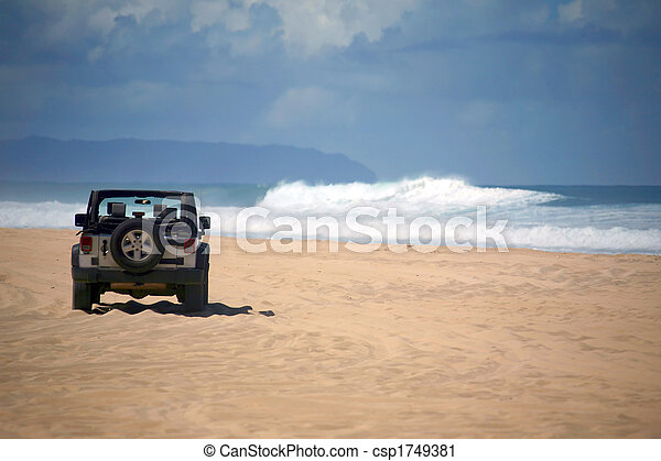 Offroad Vehicle on a Remote Beach in Hawaii - csp1749381